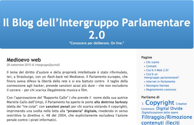 Il blog dell'Intergruppo Parlamentare 2.0