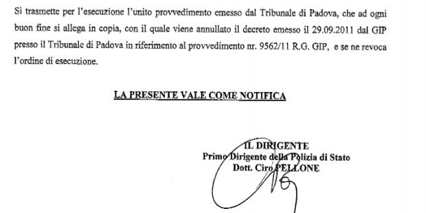 Sentenza dissequestro siti Tribunale di Padova